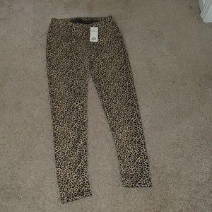 Fleece lined cheetah leggings